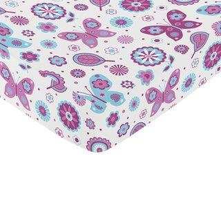 Sweet Jojo Designs Spring Garden Bedding Butterfly Print Fitted Crib Sheet