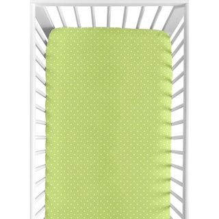 Sweet Jojo Designs Fitted Crib Sheet in Lime Mini Dot