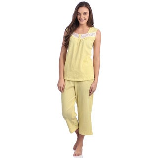 Aegean Apparel Solid Lemonade Gauze Tank/Capri PJ Set with Lace