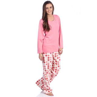 Aegean Apparel Solid Pink Knit Long Sleeve Top & Multi Dot Printed Plush Pant PJ Set