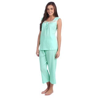 Aegean Apparel Solid Mint Gauze Tank/Capri PJ Set with Lace