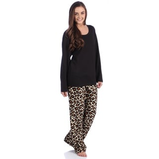 Aegean Apparel Solid Black Knit Long Sleeve Top & Tan Leopard Printed Plush Pant PJ Set