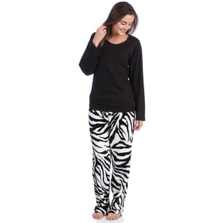 Aegean Apparel Solid Black Knit Long Sleeve Top & Black / White Zebra Printed Plush Pant PJ Set