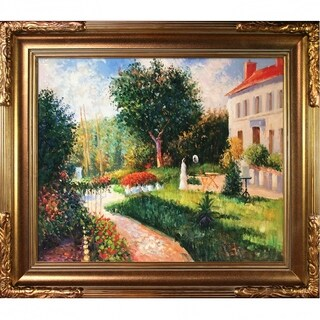 Camille Pissarro The Garden of Les Mathurins at Pontoise Hand Painted Framed Canvas Art