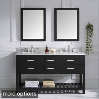 Virtu USA Caroline Estate Italian Carrara White Marble Double Sink Bathroom Vanity