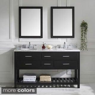 Virtu USA Caroline Estate Round Double Sink Bathroom Vanity with Italian Carrara White Marble Countertop and two 24 inch Mirror
