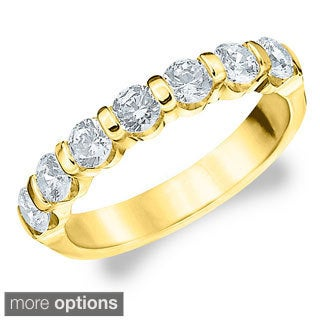 14k Gold 1 1/2ct TDW 7-stone Machine-set Diamond Band (H-I, I1-I2)