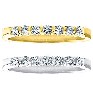 14k Gold 1/2ct TDW 7-stone Machine-set Bar Diamond Band (H-I, I1-I2)