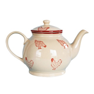 Barnyard Style Red/ Cream Tea/ Coffee Pot