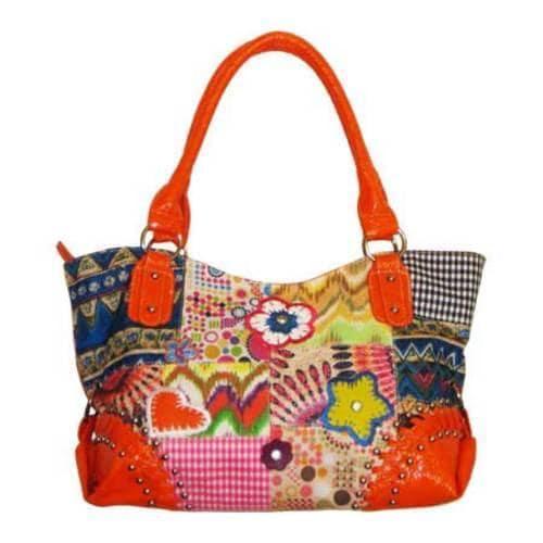 Women's Blingalicious Canvas Patch Handbag Q4972 Orange