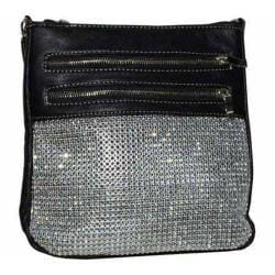 Women's Blingalicious Glittery Messenger Bag Q2991 Black