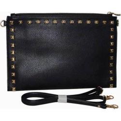 Women's Blingalicious Leatherette Clutch with Studs Q2028 Black