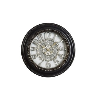 Elements 20-inch Round Antique Silver Flowers Clock