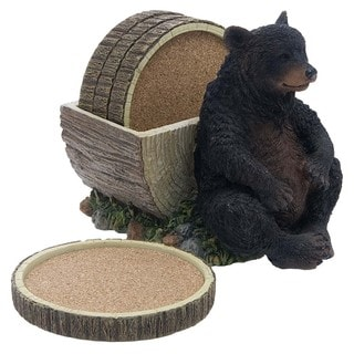 Bear and Log Coasters Gift Set