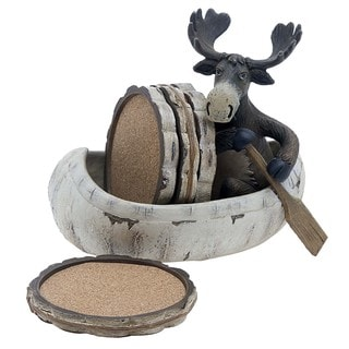 Moose & Canoe Coasters Gift Set