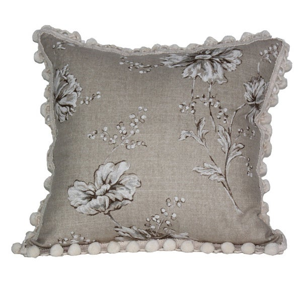 Florabunda Taupe Throw Pillow