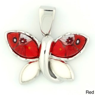 Plutus Sterling Silver Millefiori Glass Small Butterfly Pendant