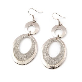Sitara Handcrafted Silvertone Glitter Earrings (India)