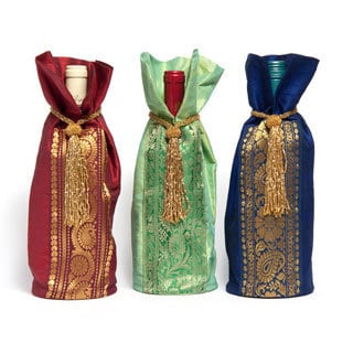 Sitara Set of 3 Handmade Fabric Wine Bags (India)