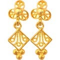 Sitara Handcrafted Gold Over Sterling Silver Dangle Earrings (India)