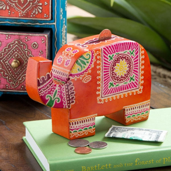 Cruelty-Free Leather Elephant Piggy Bank (India)