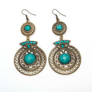 Sitara Handcrafted Green Crystal and Brass Chandelier Earrings (India)
