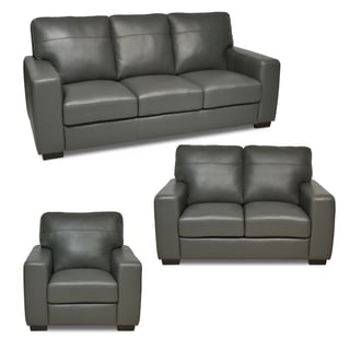 Grey Italian Leather 3-piece Living Room Sofa Set