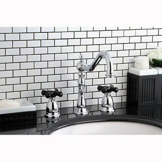 Victorian Chrome & Black Widespread Bathroom Faucet