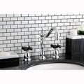 Victorian Chrome & Black Widespread Bathroom Faucet