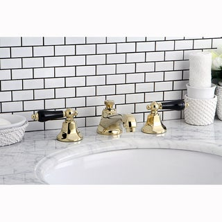 Polished Brass & Black Widespread Bathroom Faucet