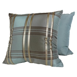 Euro Plaid Blue Pillows (Set of 2)