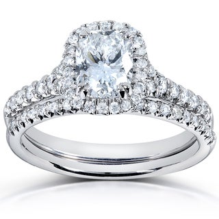 Annello 14k White Gold 1 1/2ct TDW Certified Cushion-cut Diamond Ring Set (F/SI2)