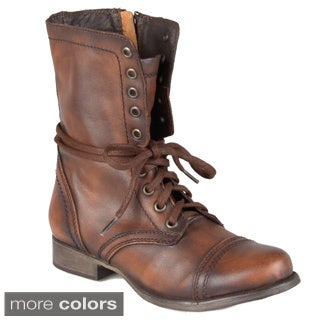 Steve Madden Women's 'Troopa' Lace-up Round Toe Boots