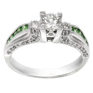 De Buman 14K White Gold Tsavorite and 4/5ct TDW Diamond Ring (H-I, I1-I2)