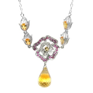 De Buman 10K White Gold Genuine Citrine and Diamond Rose Necklace