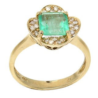 De Buman 14K Yellow Gold 1/6ct TDW Natural Emerald and Diamond Ring (I-J, I1-I2)