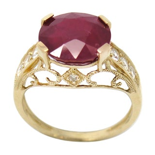 De Buman 10K Yellow Gold Genuine Ruby and 1/3ct TDW Diamond Ring (H-I, I1-I2)