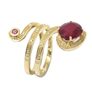 De Buman 10K Yellow Gold 1/10ct TDW Diamond and Genuine Ruby Ring (H-I, I1-I2)