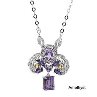 De Buman 10k White Gold Gemstone and Diamond Accent Necklace