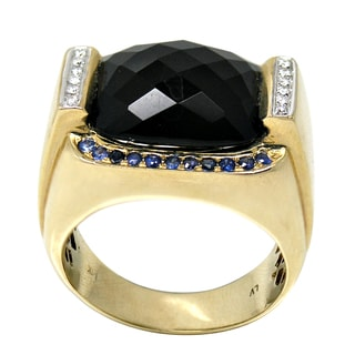 De Buman 14K Yellow Gold Genuine Agate, Sapphire and Diamond Accent Men's Ring