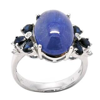De Buman 14K White Gold Genuine Tanzanite, Sapphire and Diamond Accent Ring