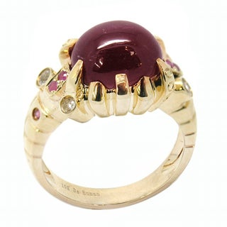 De Buman 10K Yellow Gold Genuine Ruby Ring