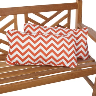 Chevron Orange 12 x 24 Inch Indoor/ Outdoor Lumbar Pillows (Set of 2)