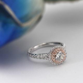 Auriya 14k Gold 2ct TDW Certified Pink and White Diamond Ring (H-I, SI1-SI2)
