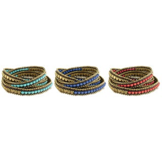 Handcrafted Alternating Glass and Metal Beads Leather Wrap Bracelet (India)