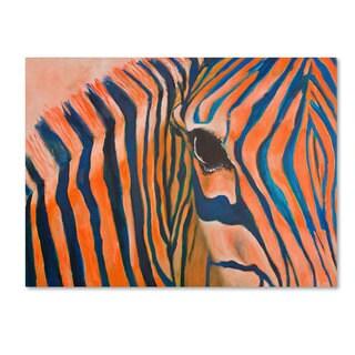 Judy Harris 'Orange Zebra' Canvas Art