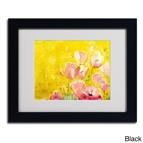 Sheila Golden 'Pink Poppy Field' Framed Matted Art