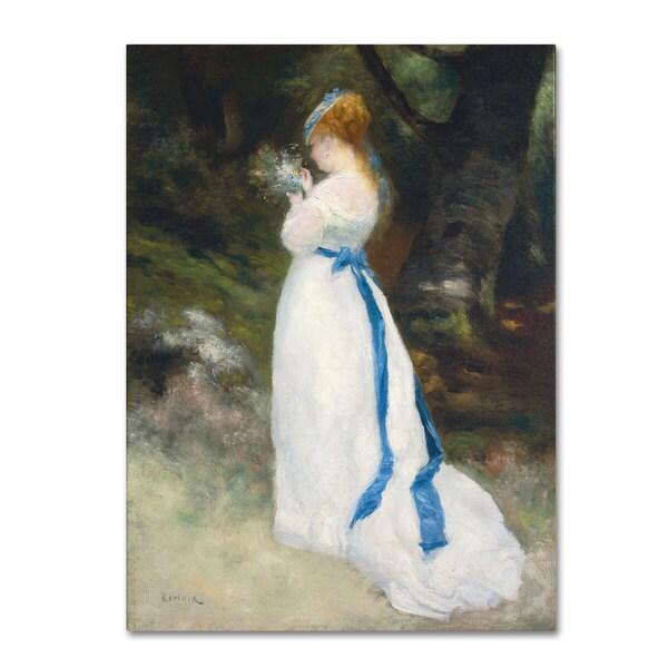 Pierre Renoir 'Lady In White' Canvas Art