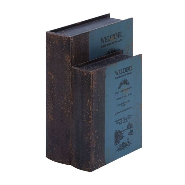 Welcome Guest Book Antiqued Wood Box Set