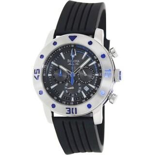 Bulova Men's Marine Star 98B165 Black Silicone Grey Dial Analog Quartz Watch